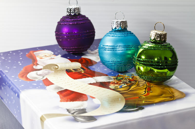 Christmas Baubles On Box Royalty Free Stock Image