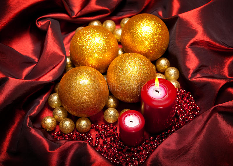 Christmas Baubles And Candles Stock Images