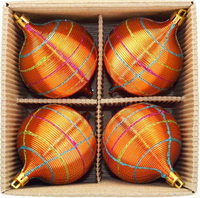 Christmas Baubles In Cardboard Box Stock Photos