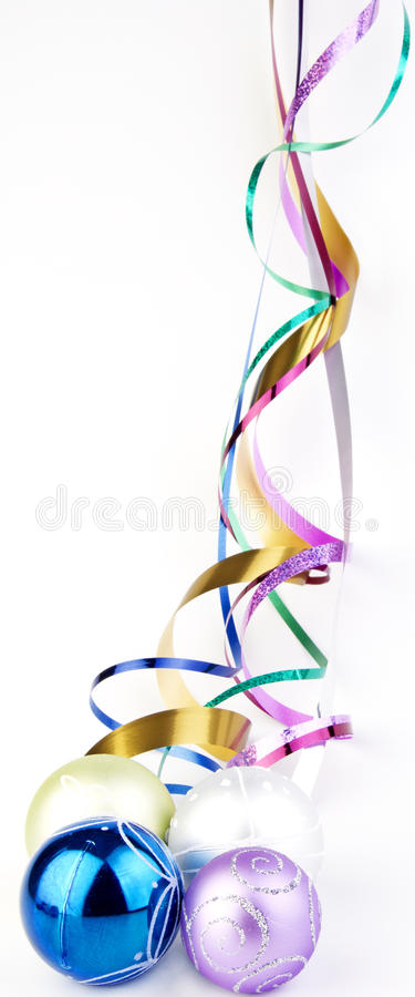 Christmas Baubles With Colorful Ribbons Stock Image