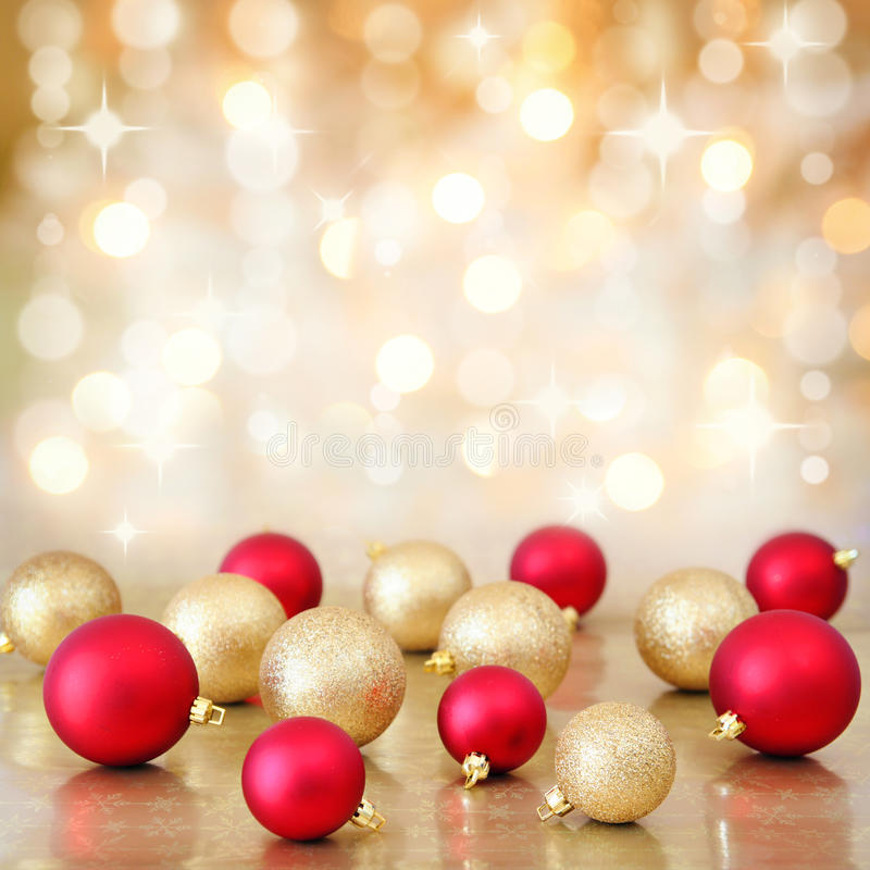 Christmas baubles on defocused lights background stock photography
