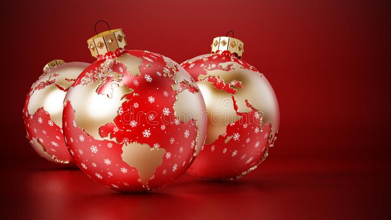 Christmas baubles with earth map on red surface. 3D rendering.  royalty free illustration