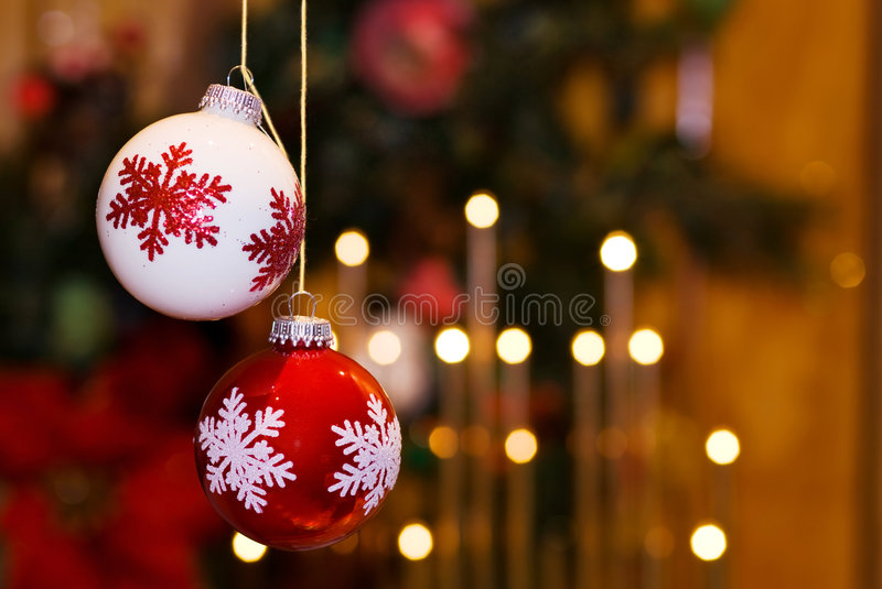 Christmas baubles and fairy lights - room for text royalty free stock photos