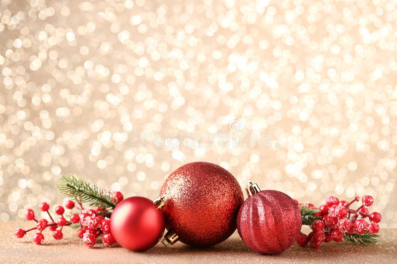 Christmas baubles with fir tree branches stock photo