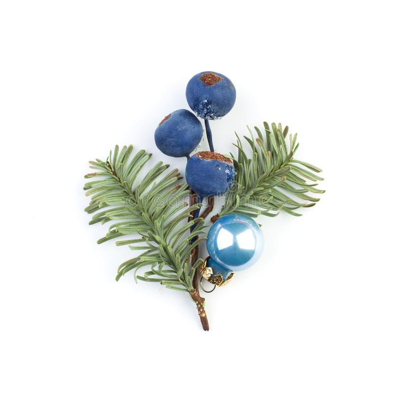 Christmas baubles, frozen winter blue berries and green fir branch on white background stock photo