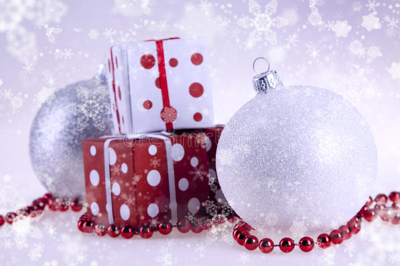 Christmas baubles and gift stock image