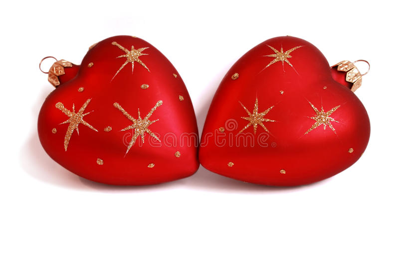 Download Christmas Baubles With Heart Form Stock Photo - Image: 12720444