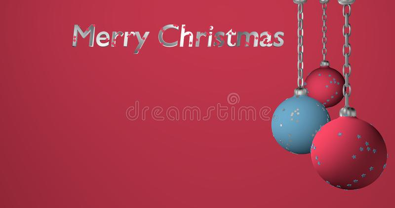 Christmas Chain Text.Christmas Baubles In Light Blue And Pink Hanging On A Chain