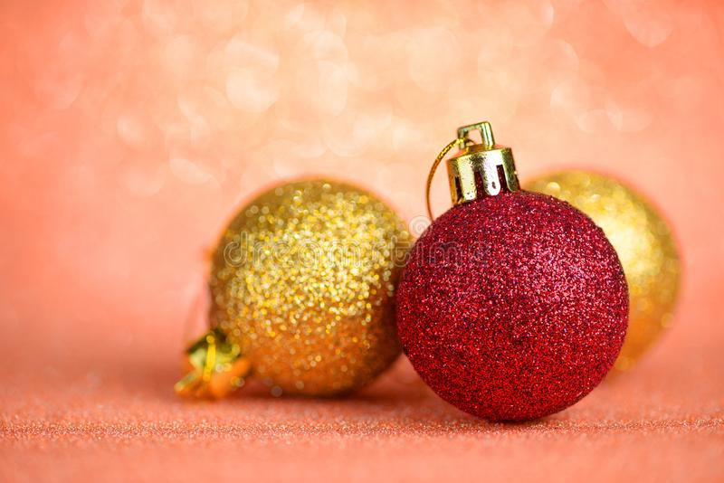 Christmas baubles on abstract background stock image