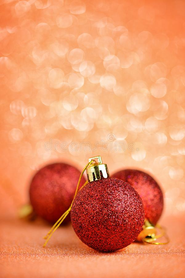 Christmas baubles on abstract background stock images