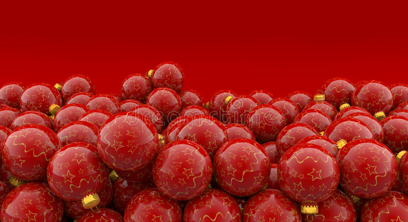 Christmas baubles on red background royalty free illustration
