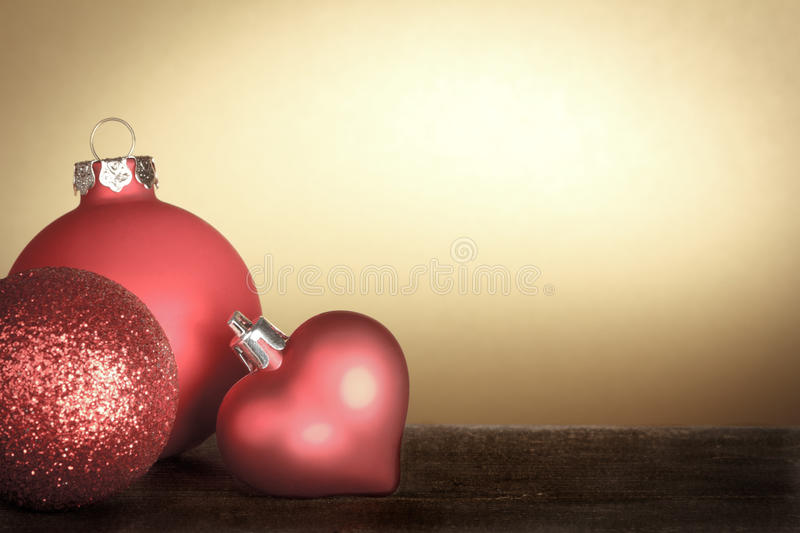 Christmas baubles red gold vintage stock photography