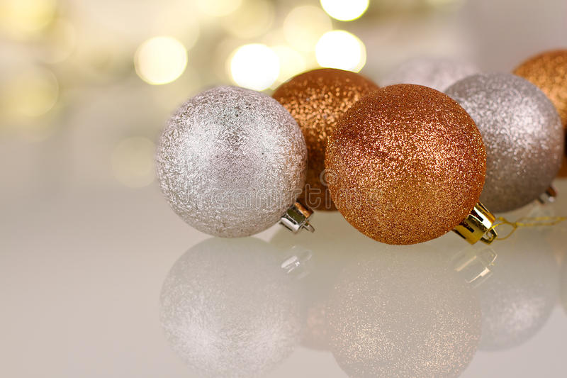 Download Christmas Baubles With Reflection Stock Image - Image: 28120157