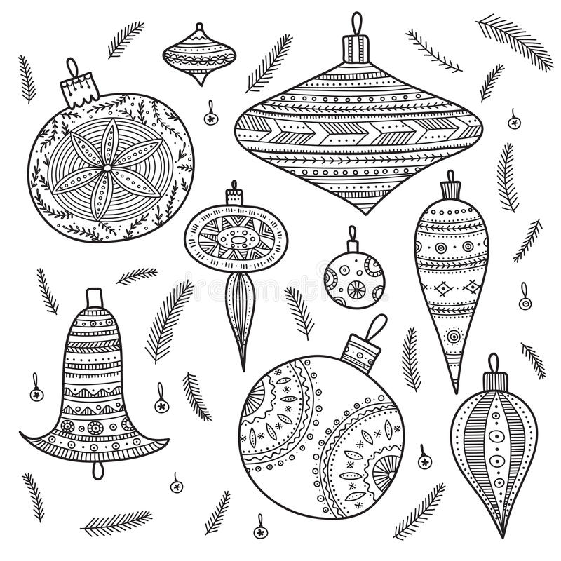 Christmas baubles set. On white background stock illustration