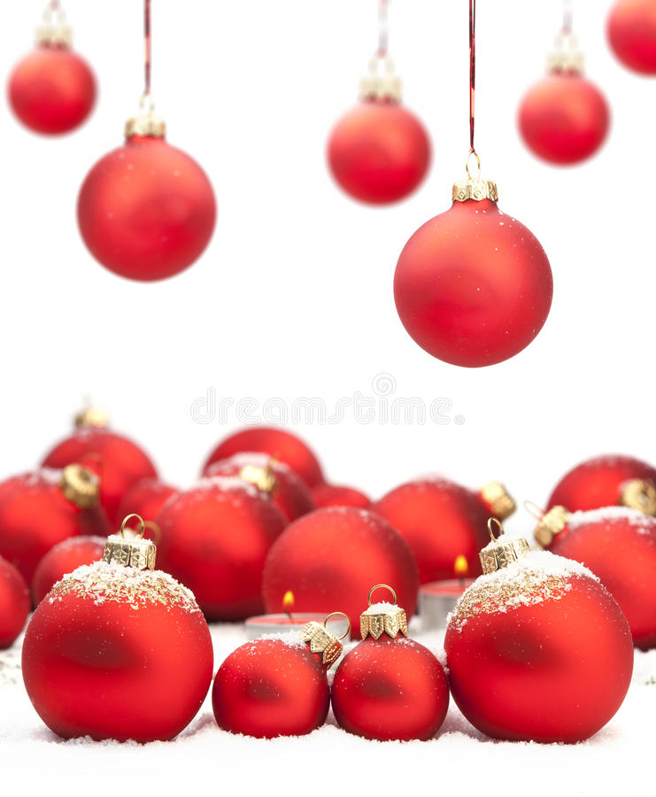 Christmas baubles with space for text stock photo