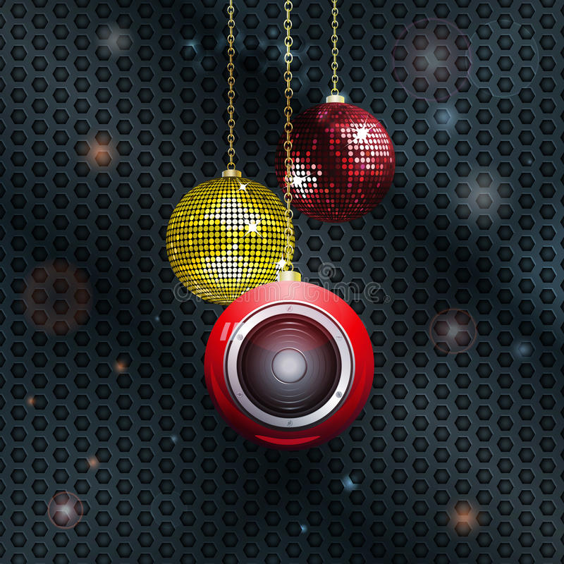 Christmas baubles with speaker. Christmas Baubles with Loudspeaker and Disco Ball Over Glowing Honeycomb Background vector illustration