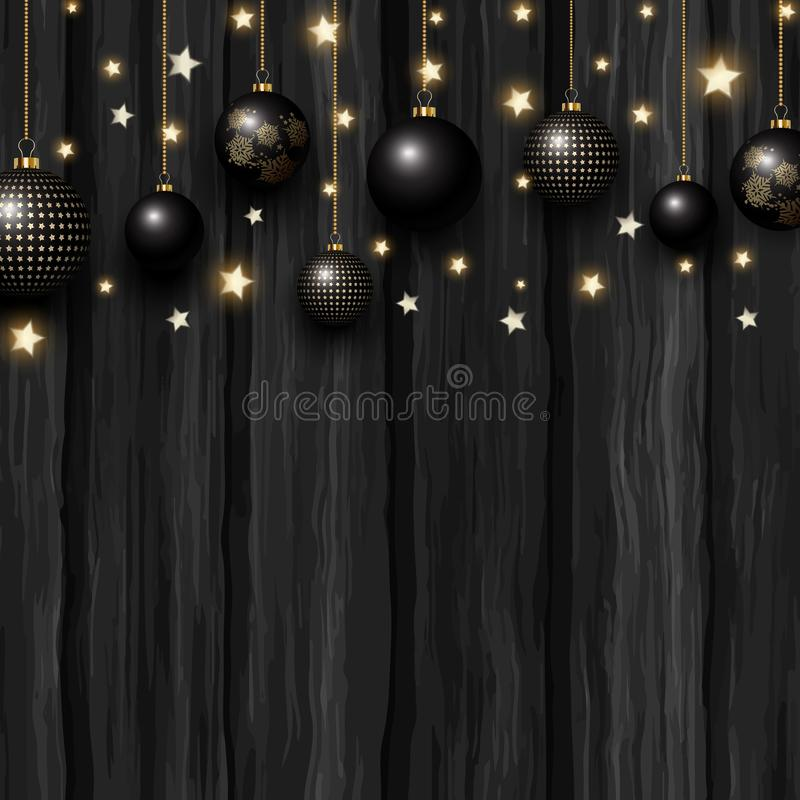 Christmas baubles and stars on a grunge wooden texture. Hanging black and gold Christmas baubles and glowing stars on a grunge wooden texture vector illustration