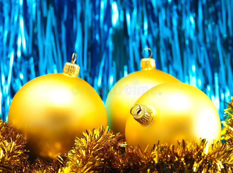 Christmas Baubles With Tinsel Stock Photo