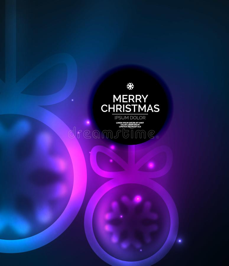 Christmas baubles, vector magic dark background with glowing New Year spheres. Holiday Christmas template, purple and blue colors stock illustration