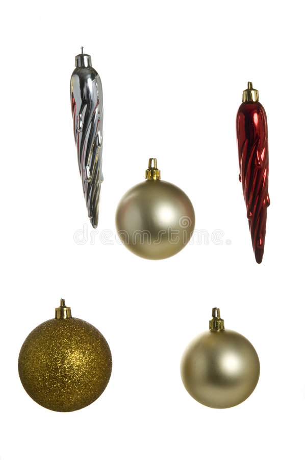 Christmas baubles on white bac stock image