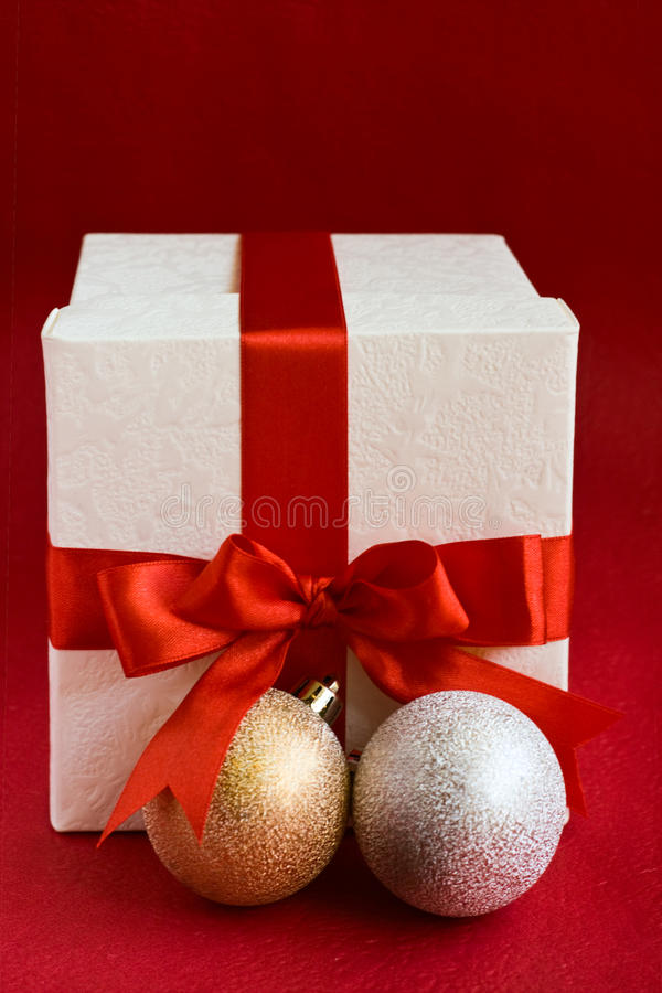 Download Christmas Baubles And White Gift Box Stock Photo - Image: 12020396