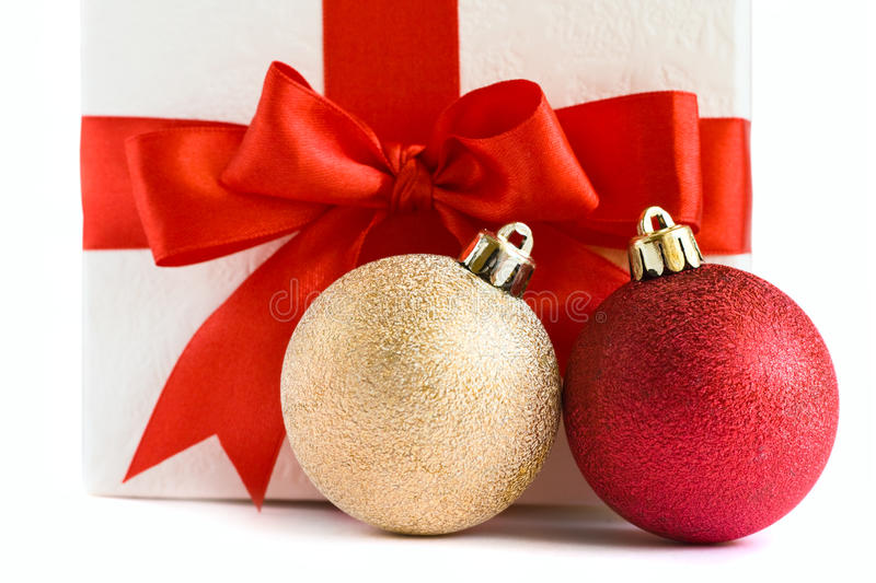 Download Christmas Baubles And White Gift Box Stock Photo - Image: 12020428
