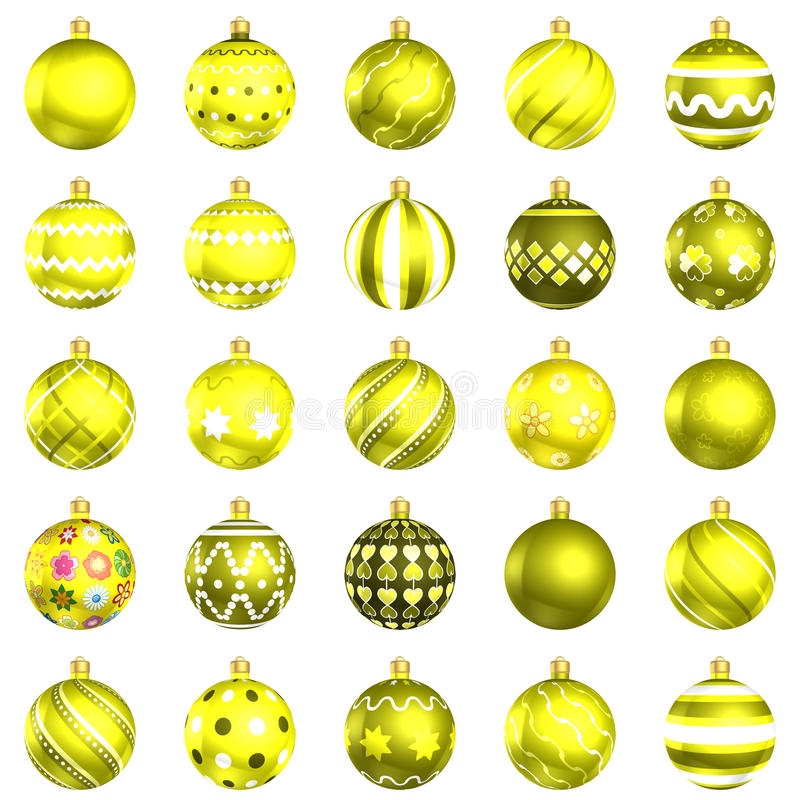 Download Christmas Baubles Yellow Pack On White Background Stock Illustration - Image: 22463541