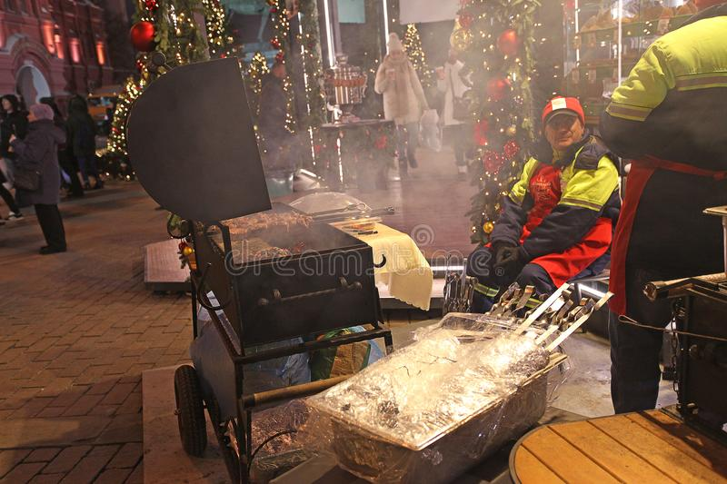 Christmas BBQ near Red Square, Moscow royalty free stock images