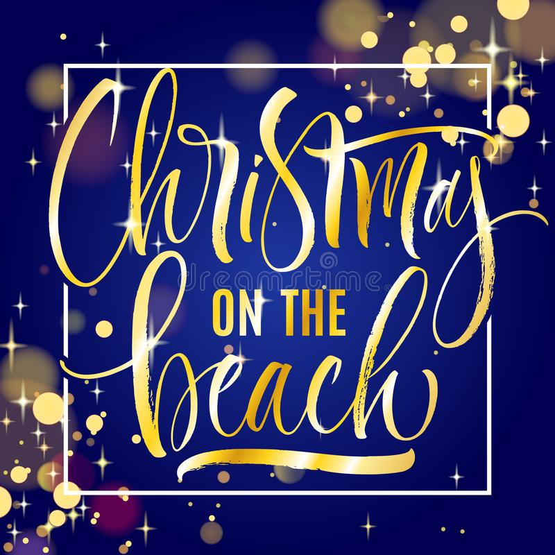 Christmas on the Beach lettering royalty free illustration