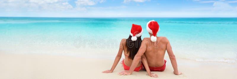 Christmas beach vacation holidays couple banner royalty free stock photo