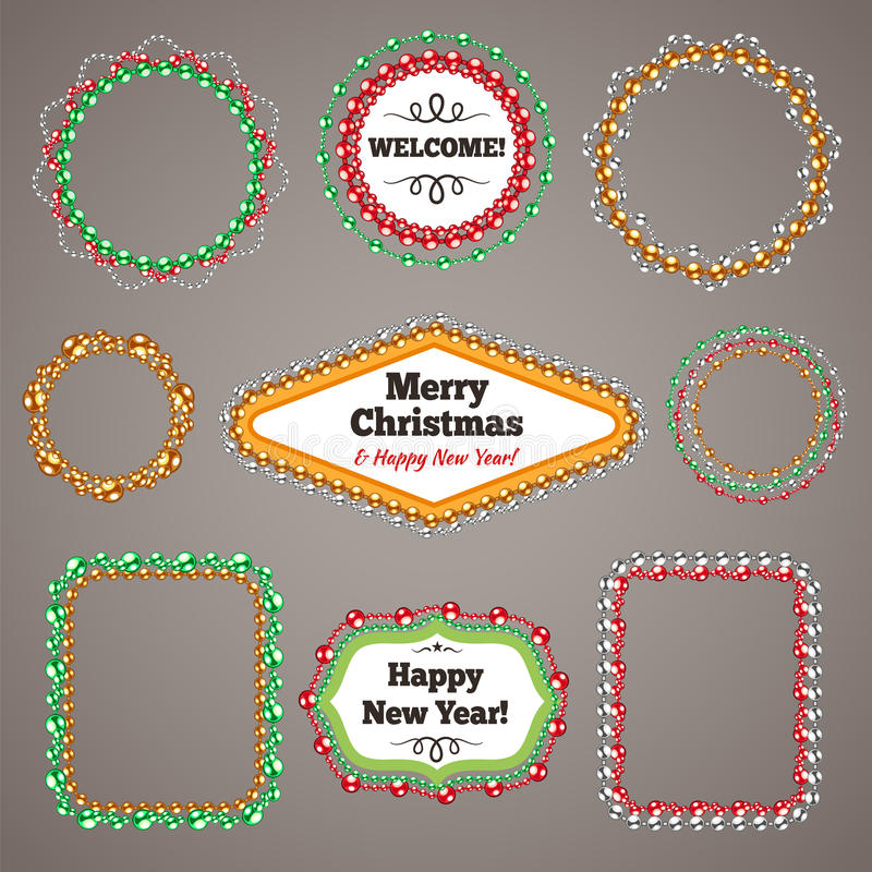 Christmas Beads Garlands Frames with a Copy Space. Set for Celebratory Design. Used pattern brushes included. Clipping paths included in additional jpg format vector illustration