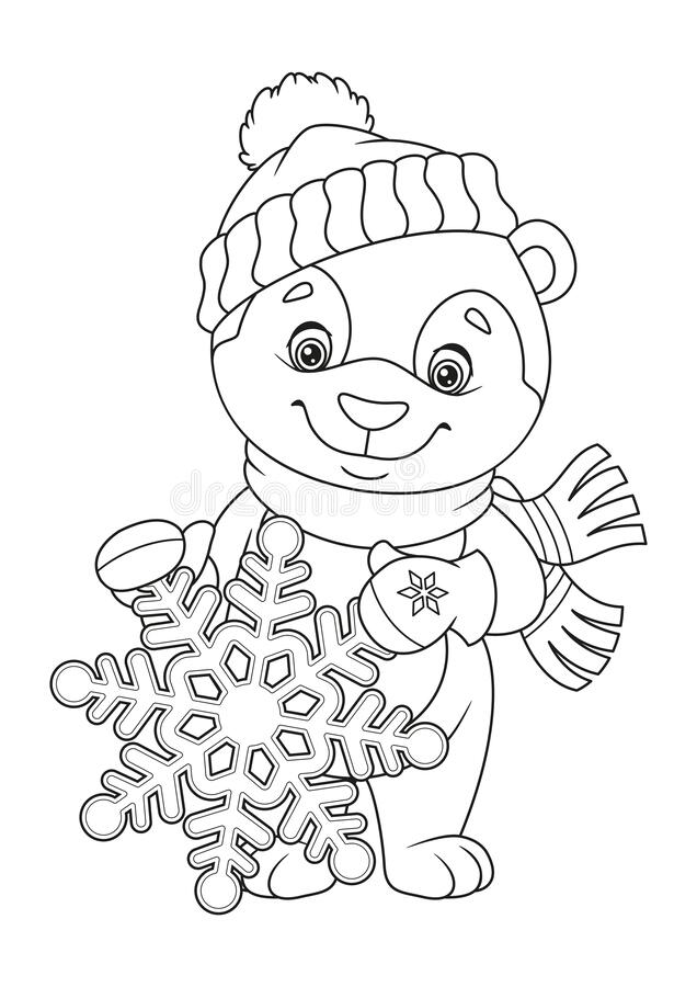 Free Christmas Bear And Snowflake Coloring Page Stock Photography - 188853592