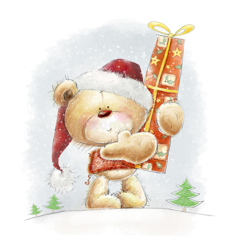 Cute teddy bear with the big red gift in the Santa stock illustration