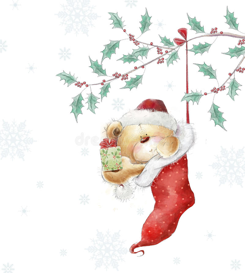 Cute teddy bear with the gift in the Santa hat. Chi stock illustration