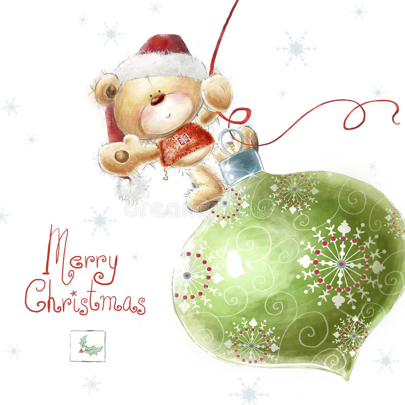 Cute teddy bear with the big Christmas tree toy i vector illustration