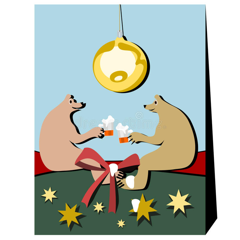 Christmas, bears and beer. stock photos