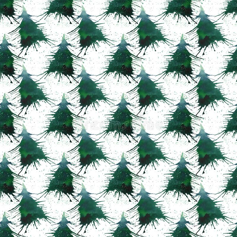 Christmas beautiful abstract graphic artistic bright holiday win. Ter green spruce tree with green spray pattern watercolor hand sketch. Perfect for textile stock photo