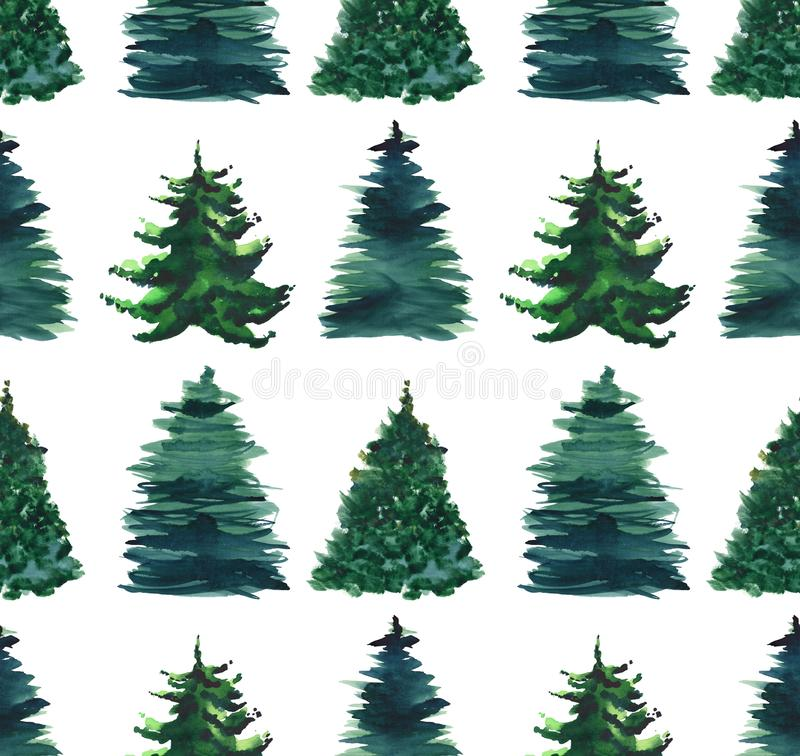 Christmas beautiful abstract graphic artistic wonderful bright holiday winter green spruce trees pattern watercolor hand illustrat royalty free illustration