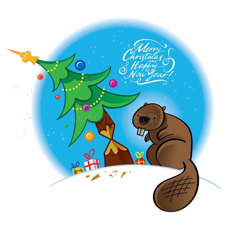 Christmas beaver vector illustration