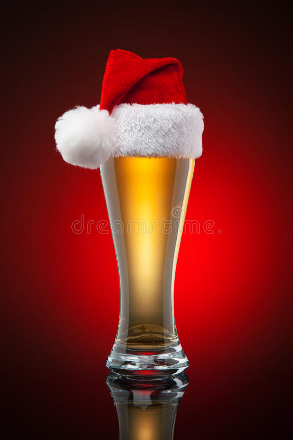 Christmas beer mug. Studio shot. Gradient background royalty free stock photography