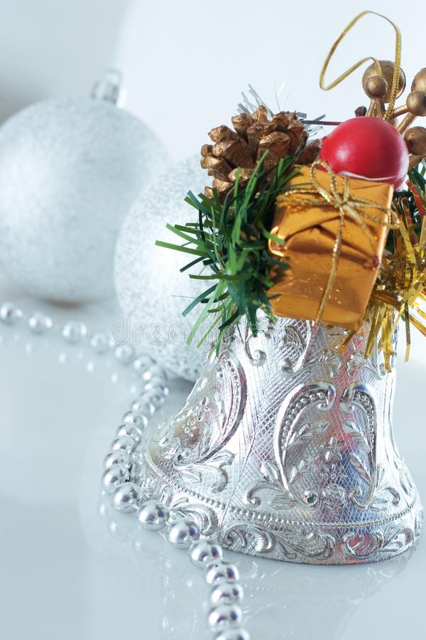 Christmas bell and christmas balls royalty free stock photos