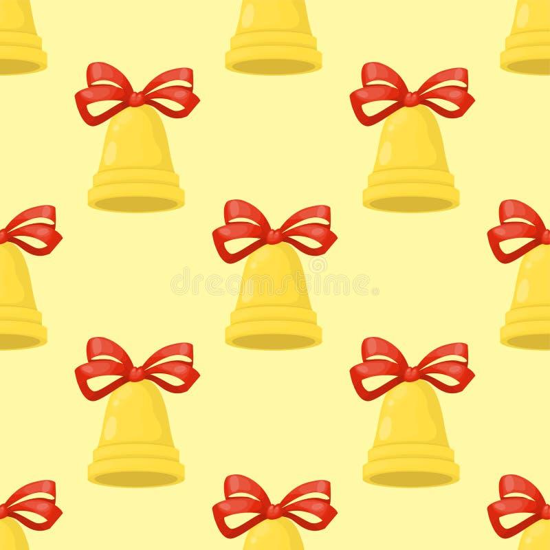 Christmas bell illustration holiday xmas seamless pattern celebration jingle decoration vector ring holiday gold alarm stock illustration