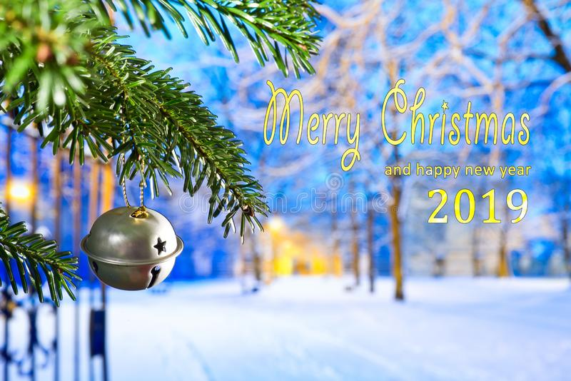 Text Merry Christmas 2019 stock photography