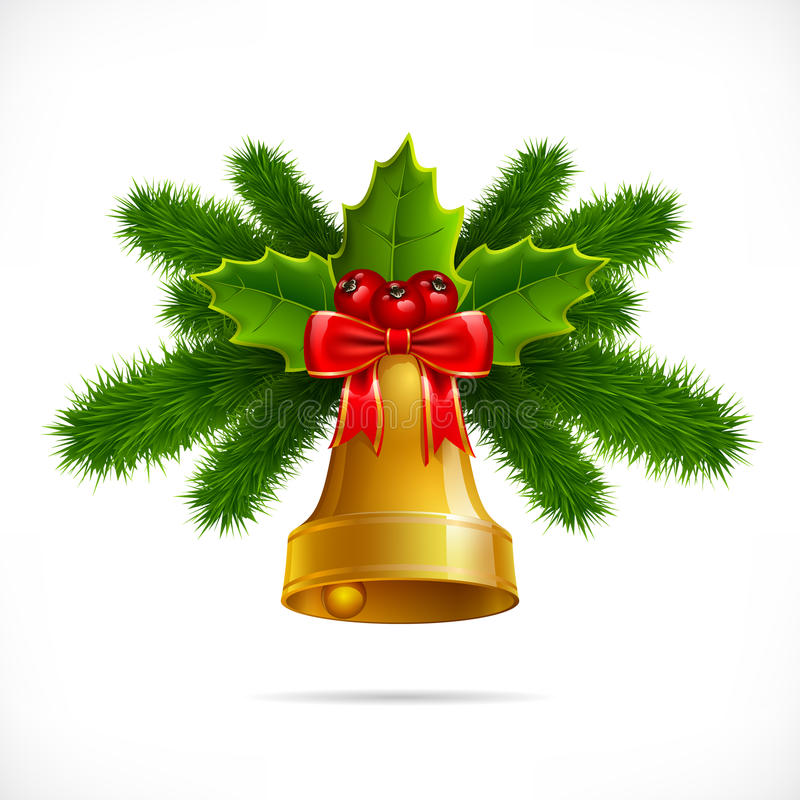 Christmas bell on a white background. Bell with Christmas decoration isolated on white background vector illustration