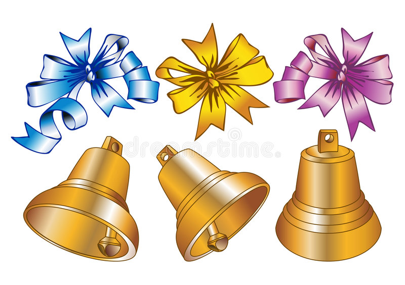 Christmas bells. Set of christmas bells and bows in different foreshortenings-elements for your christmas design royalty free illustration