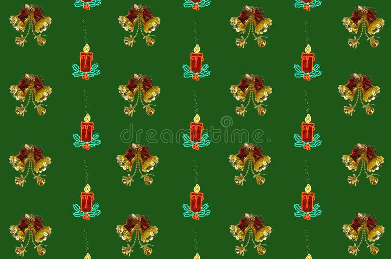 Christmas Bells And Candles. Stock Photo