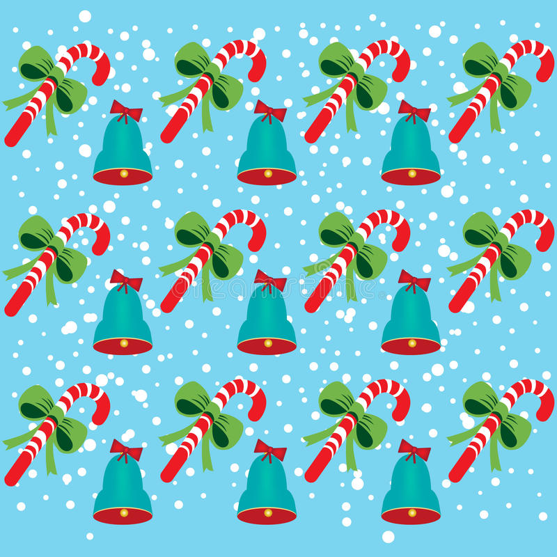 Christmas bells and candy pattern vector illustration