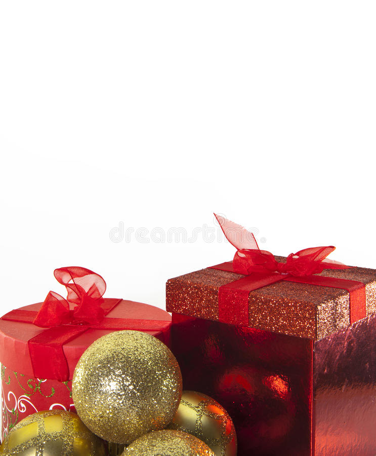 Christmas Bells and gift Boxes royalty free stock photos