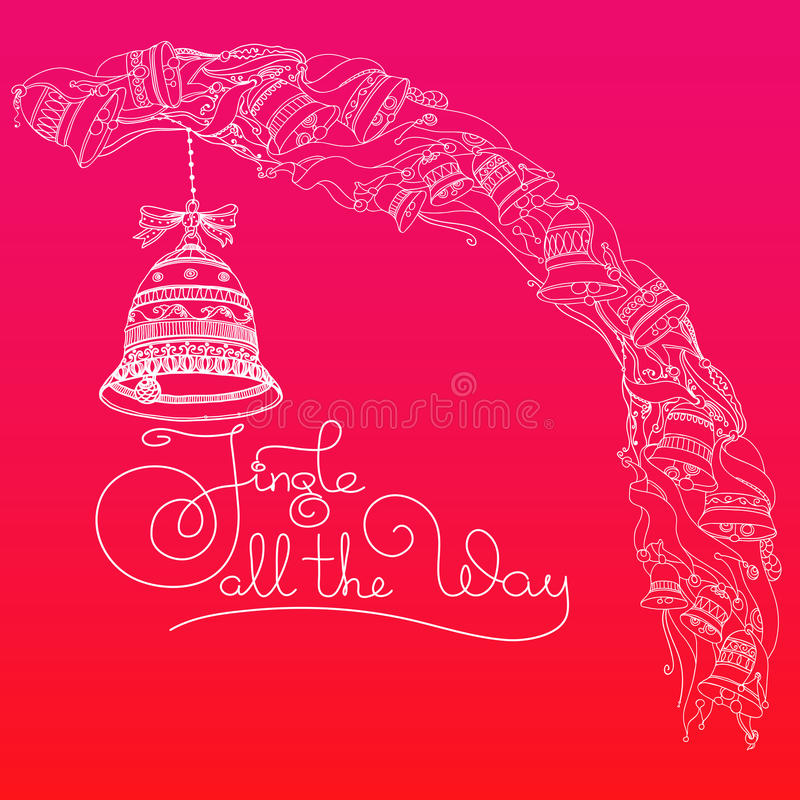 Christmas bells and handwritten words Jingle all the Way. Hand drawn vector Christmas greeting card with bells, ribbons and handwritten words Jingle all the Way royalty free illustration