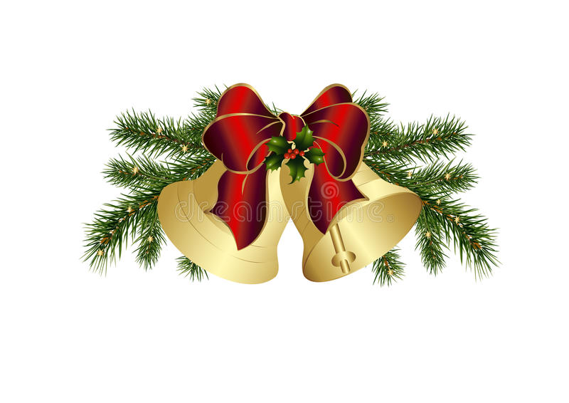 Christmas bells with red bow stock photo